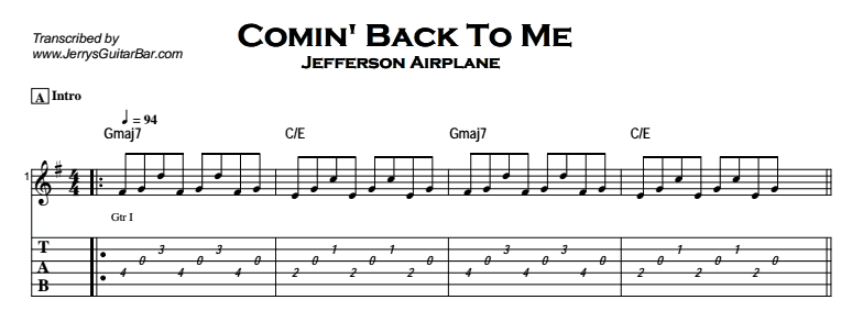 Jefferson Airplane – Comin' Back To Me Tab