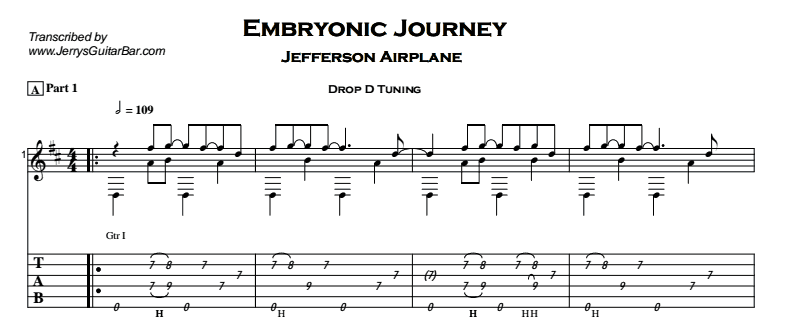 Jefferson Airplane – Embryonic Journey Tab