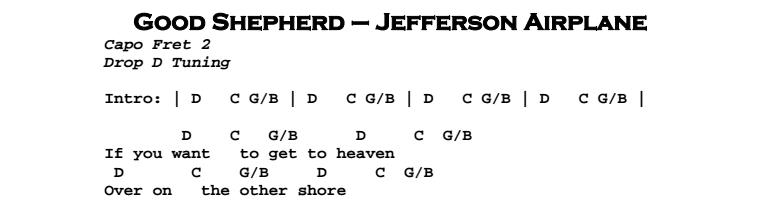 Jefferson Airplane – Good Shepherd Chords & Songsheet
