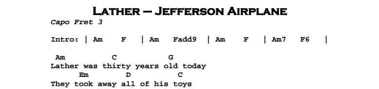 Jefferson Airplane - Lather Chords & Songsheet
