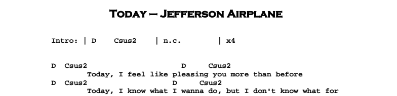 Jefferson Airplane - Today Chords & Songsheet