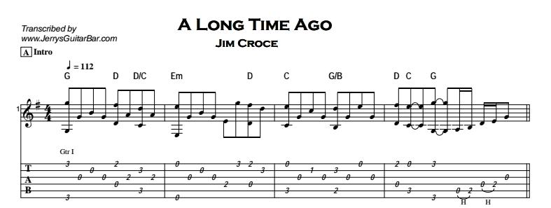 Jim Croce – A Long Time Ago Tab