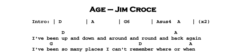 Jim Croce - Age Chords & Songsheet