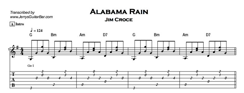 Jim Croce – Alabama Rain Tab