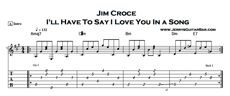 Jim Croce - I'll Have To Say I Love You In a Song Tab
