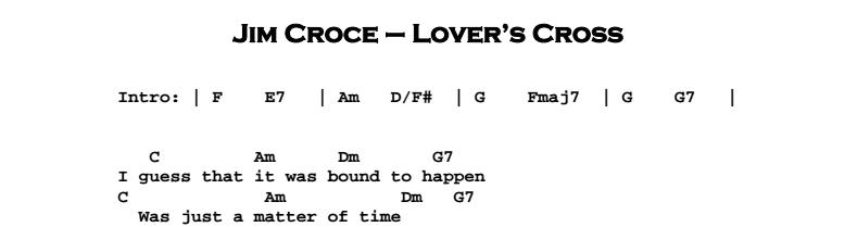 Jim Croce - Lover's Cross Chords & Songsheet