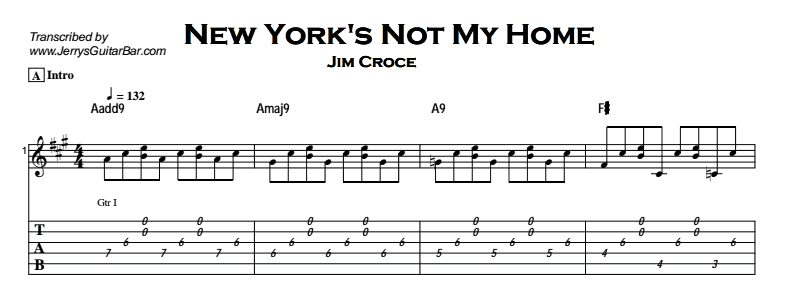 Jim Croce - New York's Not My Home Tab
