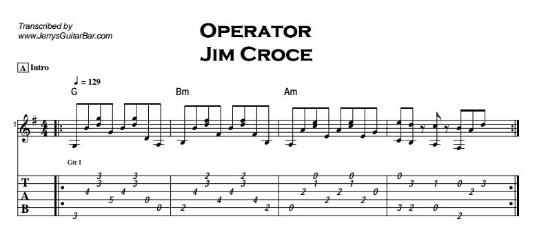 Jim Croce - Operator Tab