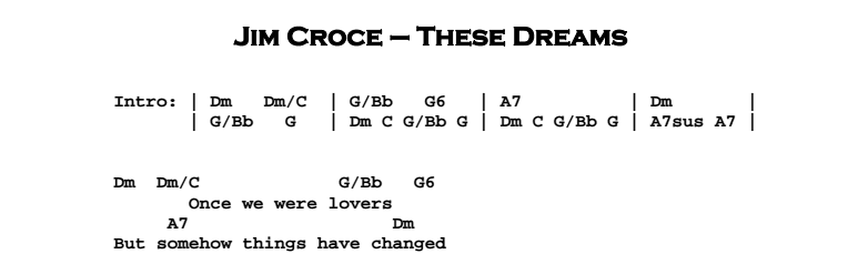 Jim Croce - These Dreams Chords & Songsheet