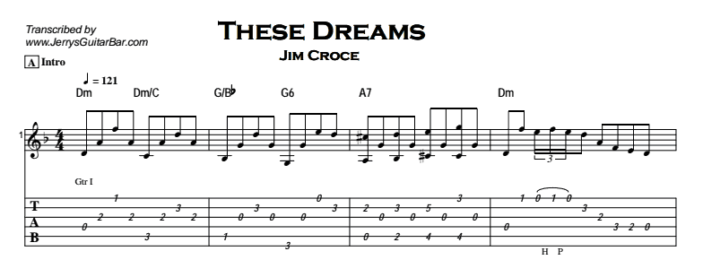 Jim Croce - These Dreams Tab