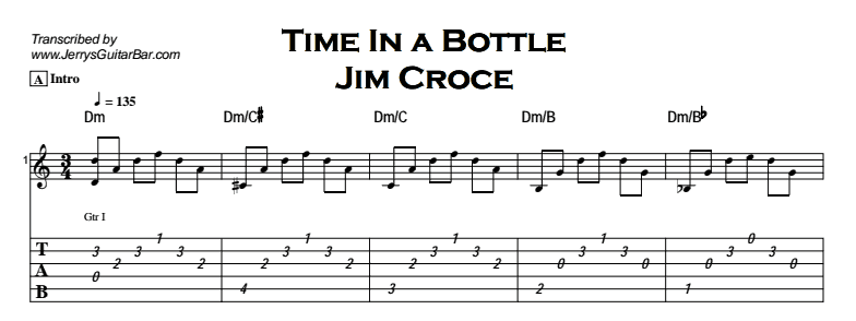 Jim Croce - Time In a Bottle Tab