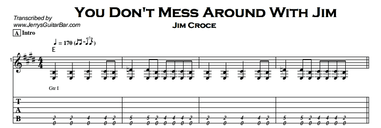 Jim Croce - You Don't Mess Around With Jim Tab