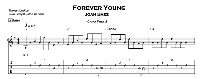 Joan Baez – Forever Young Tab