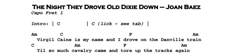 The Night They Drove Old Dixie Down Guitar Lesson Tab Chords Jgb