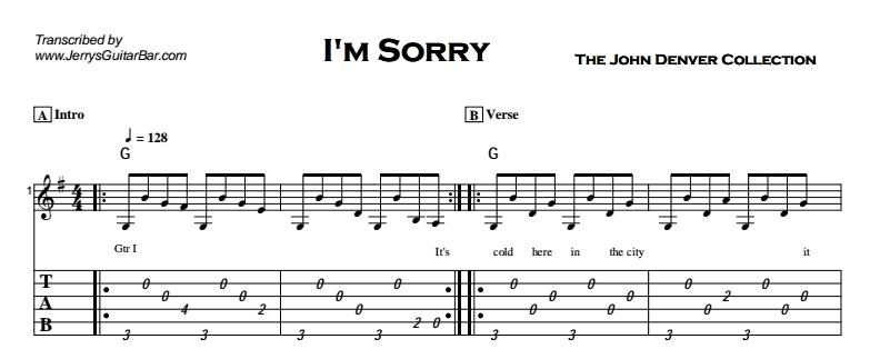 John Denver - I'm Sorry Tab