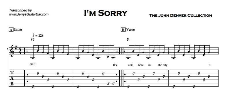 John Denver - I\'m Sorry | Guitar Lesson, Tab & Chords | Jerry\'s ...