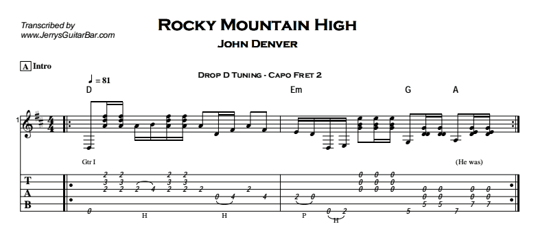John Denver – Rocky Mountain High Tab