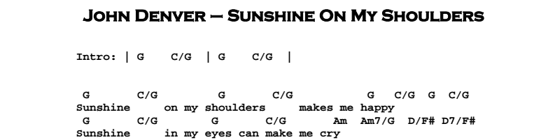 John Denver Sunshine On My Shoulders Guitar Lesson Jgb