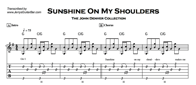 John Denver - Sunshine On My Shoulders Tab