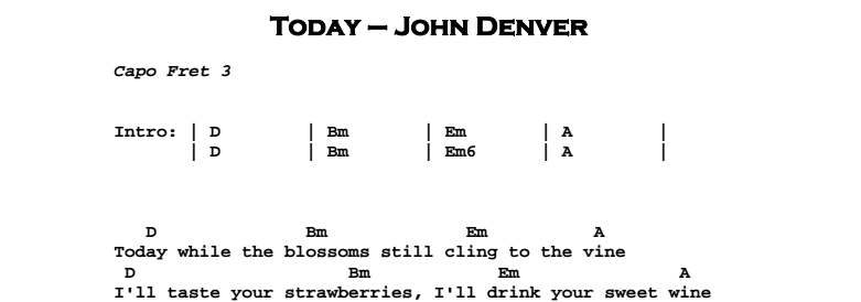 John Denver - Today Chords & Songsheet