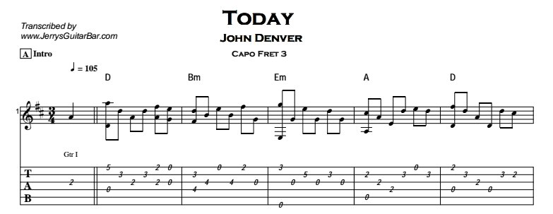 John Denver - Today Tab