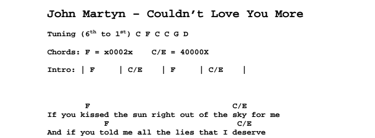 John Martyn - Couldn't Love You More Chords & Songsheet