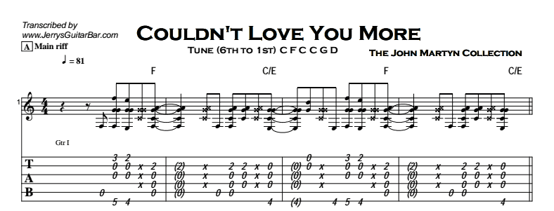 John Martyn - Couldn't Love You More Tab