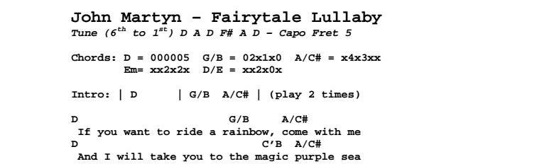 John Martyn - Fairytale Lullaby Chords & Songsheet