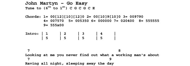 John Martyn - Go Easy Chords & Songsheet