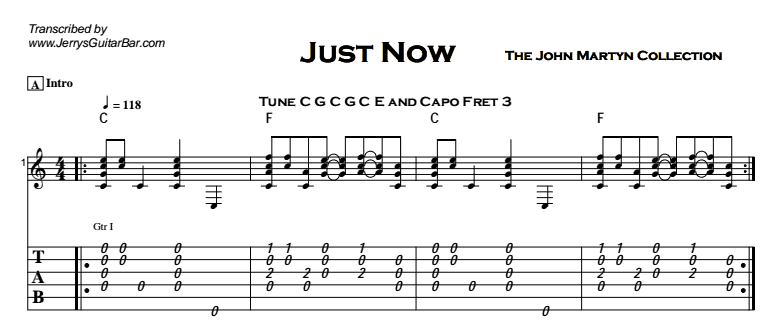 John Martyn - Just Now Tab