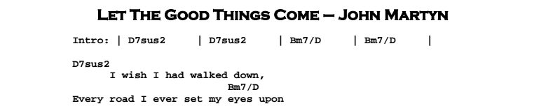 John Martyn - Let The Good Things Come Chords & Songsheet