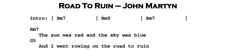 John Martyn - Road To Ruin Chords & Songsheet