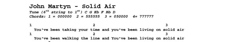John Martyn - Solid Air Chords & Songsheet
