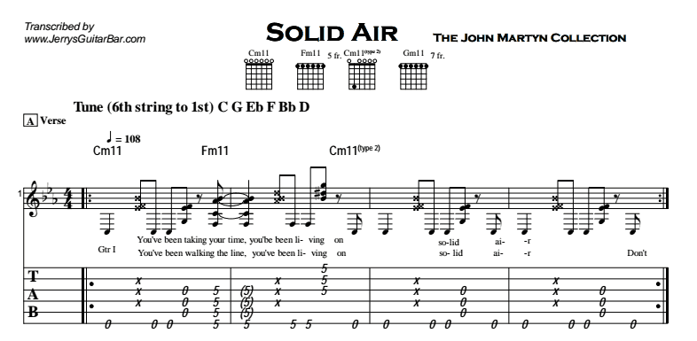 John Martyn - Solid Air Tab