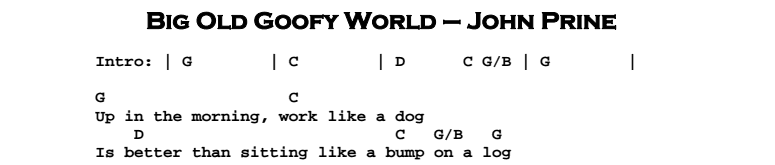John Prine – Big Old Goofy World Chords & Songsheet