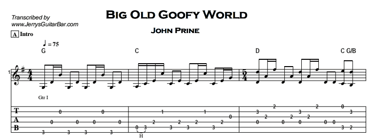John Prine – Big Old Goofy World Tab