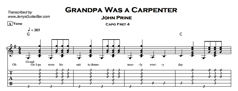 John Prine – Grandpa Was a Carpenter Tab