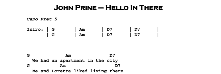 John Prine - Hello In There Chords & Songsheet