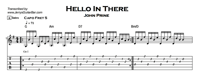John Prine - Hello In There Tab
