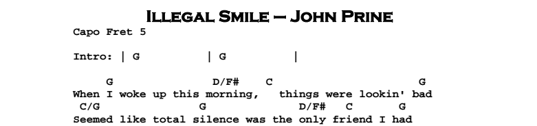 John Prine - Illegal Smile Chords & Songsheet