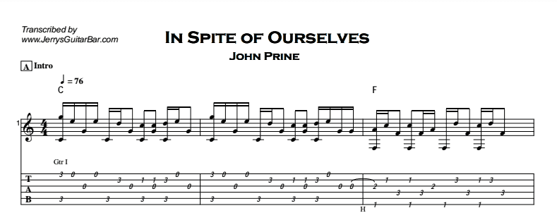 John Prine – In Spite of Ourselves Tab