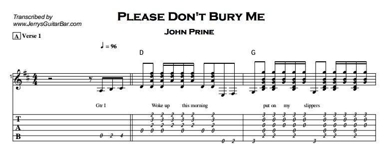 John Prine – Please Don't Bury Me Tab