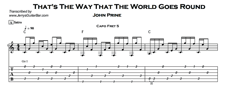 John Prine – That's The Way That The World Goes Round Tab