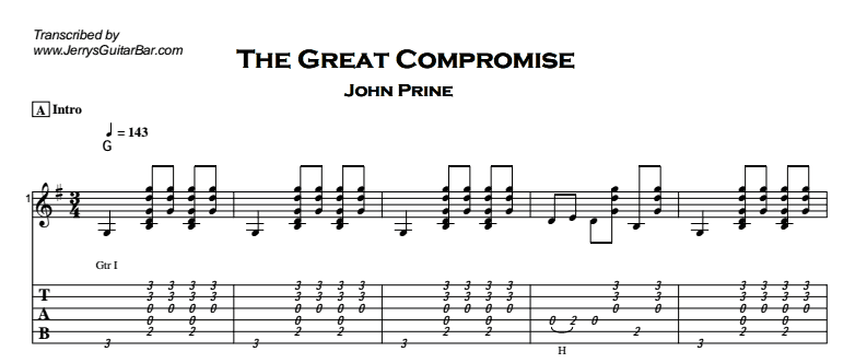 John Prine – The Great Compromise Tab