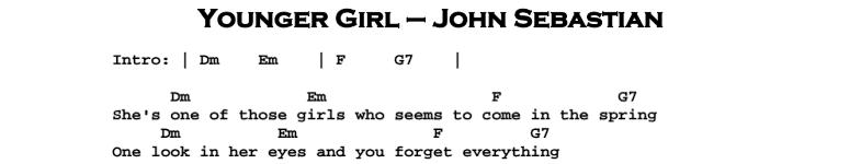 John Sebastian – Younger Girl Chords & Songsheet