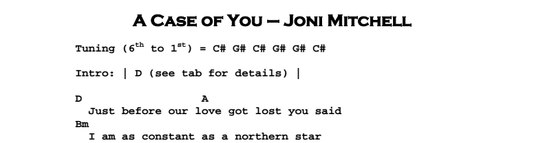 Joni Mitchell – A Case of You Chords & Songsheet