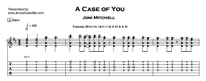 Joni Mitchell – A Case of You Tab