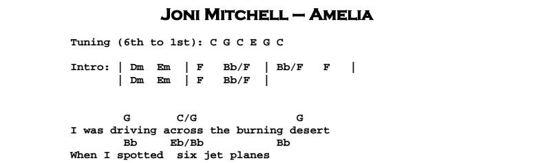 Joni Mitchell - Amelia Chords & Songsheet