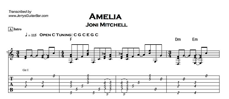 Joni Mitchell - Amelia Tab