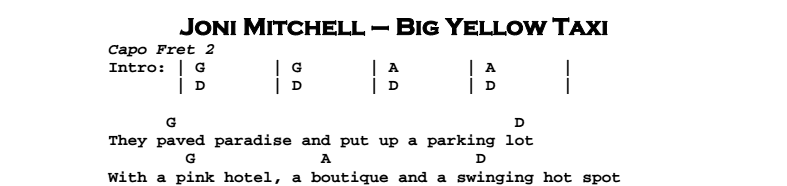 Joni Mitchell - Big Yellow Taxi Chords & Songsheet